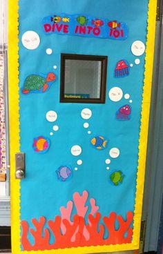 Dive In To Our Class!  Door Display Classroom Setting, Classroom Door, Classroom Themes, Classroom Organisation, Classroom Displays, Door Bulletin Boards, Class Door, Door Displays, Vacation Bible School