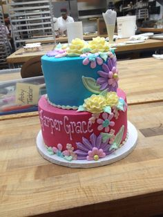 Pink and blue stacked flower cake from Julia's bakery in Murfreesboro tn Princess Party, Bakery, Party Ideas, Desserts, Flowers, Pink, Blue, Food, Tailgate Desserts