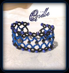 Gothic charming bracelet Idna black and blue by Crielle on Etsy, €32.00