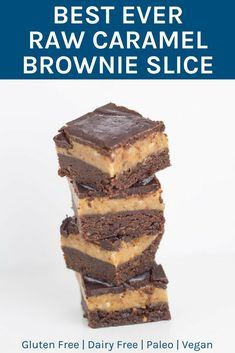My Best Ever Raw Caramel Brownie Slice is gluten, dairy and refined sugar free (as always) and suitable for paleo and vegan lifestyles. There are three layers to this masterpiece, the chocolate brownie base, a gooey caramel layer and crunchy chocolate layer to top it off. #rawdessert #healthydessert #glutenfree | becomingness.com.au