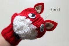 Old socks turn in hand puppet. DIY instructions in Finnish. Hippu