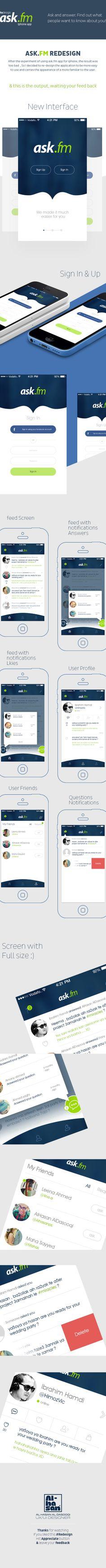 Redesign Ask.Fm app for #IOS by AlHasan AlDasooqi, via Behance