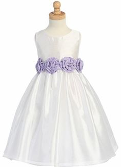 White/Lilac Shantung Organza Dress with Detachable Flowered Sash