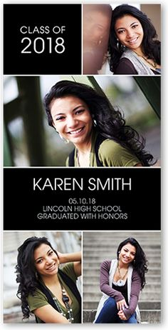 Graduation Announcements: Contempo Grad,  Announcement, Square Corners, Black