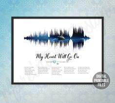 My Heart Will Go On, Custom Sound wave and Lyrics art, Digital Printable poster, Instant download files, Personalized soundwave print gift Sound Wave Picture, Celine Dion Songs, Tattoos For Dad Memorial, Let's Talk About Love, In Memory Of Dad, Dad Tattoos, Rainbow Connection, Beautiful Songs