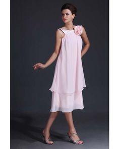 Pink Chiffon Tea-length Mother of Bride Dress | LynnBridal.com... this dress looks cute and fun  :)