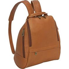 f05b6ff2fd11 Le Donne Leather U Zip Mid Size Backpack Purse Review Brown Leather  Backpack