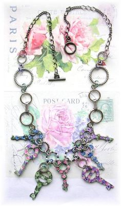 Vintage Circle Key Necklace Painted Roses by TheVintageHeart, $40.00
