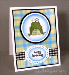Plaid Background- Click the project photo to see the technique video. Baby Cards, Kids Cards, Twine Flowers, Stamp Tv, So Creative, Cool Cards, Cardmaking, Card Stock, Stampin Up