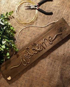 Your place to buy and sell all things handmade Wire Hanger Crafts, Wire Crafts, Wire Letters, Name Hangers, Valentine Gifts For Husband, Diy Crafts Hacks, Copper Art, Crafts To Make And Sell, Wooden Gifts