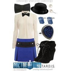 Doctor Who fashion--as much as I hate skirts I'd TOTALLY wear this! (With something underneath the skirt, of course) Nerd Fashion, Fandom Fashion, Fashion Beauty, Doctor Who Outfits, Fandom Outfits, Tardis Dress, Casual Cosplay, Geek Chic, Cute Outfits