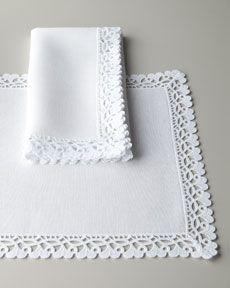 "Matouk ""Ricamo"" Table Linens"