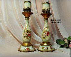 Купить Подсвечники деревянные интерьерные Декупаж - подсвечник, подарок, бордо, роз, ручная работа, handmade