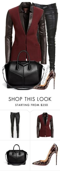 """Nothing underneath"" by highfashionfiles ❤ liked on Polyvore featuring Balmain, Danier, Givenchy and Christian Louboutin"