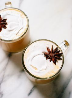 Creamy pumpkin spice chai lattes made with real ingredients (only 90 calories!) - cookieandkate.com