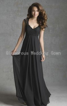 2014 Newest Sexy Black Sheer Straps V-Neck Party Dresses/Gown Rich Appliques Beautifully Floor-Length Organza Bridesmaid Dress $118.00