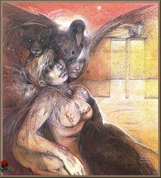 Erishkigal, by Susan-Seddon Boulet Vampires, Witch Queen, Wolf Love, Spirited Art, Gothic, Durga Goddess, Visionary Art, Illustrations, Fantastic Art