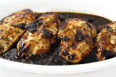 Skinny Chicken with Raspberry-Balsamic Sauce. You can easily change the flavor by changing the preserves. Each serving has 173 calories, 4g fat & 4 Weight Watchers POINTS PLUS. http://www.skinnykitchen.com/recipes/skinny-chicken-with-raspberry-balsamic-sauce/