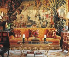 Room of the Day~ Another view of this Paris apartment by Alidad. A pair of Venetian giltwood mirror and candle sconces on a large Aubusson Louis XV tapestry which dominates one wall of the drawing room Parisian Apartment, Paris Apartments, Urban Deco, Riad Marrakech, Interior Decorating, Interior Design, Luxury Interior, French Decor, Chinoiserie