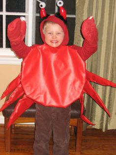 Mom - check out how they did the eyes.  It's a devil horn headband and ping pong balls... makes it look like antenna.  Crab costume!  Well done.