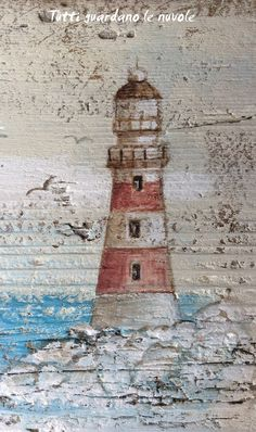 Tutti guardano le nuvole: Shabby Sea Daisy Painting, Acrylic Painting Canvas, Painting On Wood, Anchor Wall Art, Lighthouse Painting, Beach Canvas, Fence Art, Wood Pallet Signs, Beach Crafts