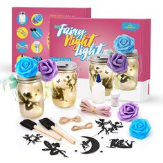 Kid Labsters Fairy Night Light Kit - Fun DIY Fairy Tale Lantern Tool Set - Battery Powered Glass Orb/Jar Lights - Kids Craft Portable Dim Lamp for Bedroom Nursery Toys Play Centers Sports-Game Room Games-Activities Balls Fun Crafts To Do, Crafts For Kids, Fun Diy, Fairy Lanterns, How To Make Lanterns, Jar Lights, Craft Kits, Diy Toys, Tool Set