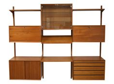This mid-century adjustable wall shelving unit cabinet comes with four wall…