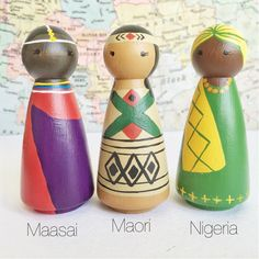 Celebrate the beautiful colors and cultures of the world with my Girls of the World peg doll collection! The current collection includes girls from Nigeria, Hawaii, Denmark, India, Russia, Maasai, Maori, Mexico, Japan, and Native American cultures (girls from other countries can be added as a custom order). Each doll is hand-painted with non-toxic paints and finished with a non-toxic protective top coat. On request, I can substitute an all-natural finish made with olive oil and beeswax…