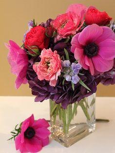 Anemone, Hydrangea, Italian Ranunculus, Scabiosa, & Garden Roses