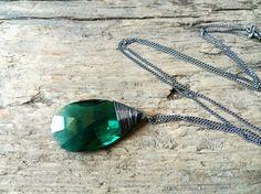 Crystal #DropNecklace / #EmeraldGreen #Necklace / by DevikaBox, $30.00
