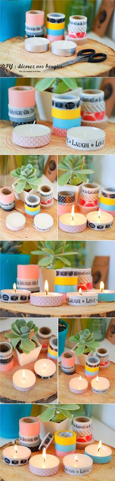 Washi tape candles, what a cute idea!
