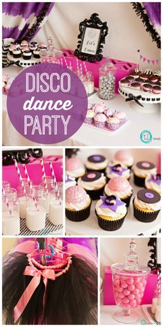 There are lots of fun disco dance decorations at this pink and purple girl birthday party!  See more party ideas at CatchMyParty.com!