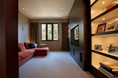 Decoration, Captivating Interior House Landscape Of Chalet Whistler Design In Canada Featuring Couches, Built In Wall Cabinet, Big TV And Ceiling Lamp: Steady Stone Exterior Decor for Contemporary Chalet in Canada