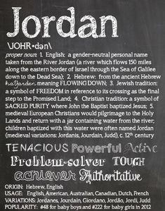 JORDAN Personalized Name Print / Typography Print / Detailed Name Definitions / Numerology-calculated Destiny Traits / Educational