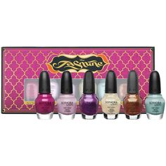 Disney Jasmine Collection One Is Never Enough Nail Set - Berry Tale Romance (dark berry)   - Your Wish Is My Command (lilac)   - Fit For Royalty (p earlized purple)   - Dream Princess (clear with light sparkles)   - All That Jasmine (light turquoise)   - Aladdin's Girl (pearlized, glittery dark orange)