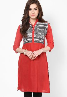 Red Embroidered Cotton Kurti - SPAN Kurtas & kurtis for women | buy women kurtas and kurtis online in indium