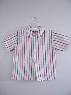 Vintage 1960s Boys Shirt / Striped Shirt / Collared Shirt / 4T