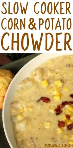 my favorite comfort food! - Corn and Potato Chowder Recipe for the Crock Pot Slow Cooker my favorite comfort food! - Corn and Potato Chowder Recipe for the Crock Pot Slow Cooker Slow Cooker Corn Chowder, Crock Pot Slow Cooker, Crock Pot Cooking, Easy Cooking, Cooking Tips, Slow Cooker Potatoes, Crock Pot Potatoes, Chowder Recipes, Soup Recipes