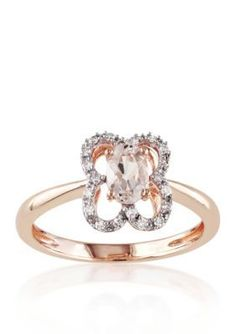 Belk  Co.  10k Rose Gold Morganite and Diamond Ring