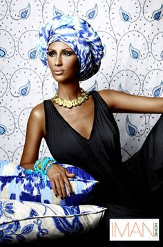 I love the blue and white watercolor-like fabric from Iman for Calico Corners.