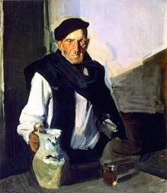 Basque Drinker - Joaquin Sorolla y Bastida Paintings Spanish Painters, Spanish Artists, Pierre Bonnard, Pierre Auguste Renoir, Portraits, Portrait Art, Portrait Paintings, Claude Monet, Figure Painting