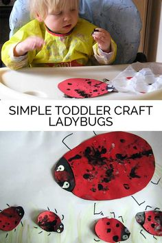 Simple toddler and baby craft that you can do at home - finger print ladybugs.