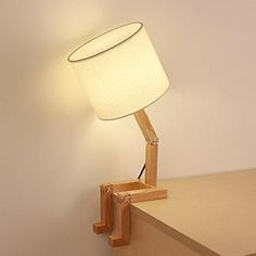 HAITRAL Wooden Table Lamp Adjustable Creative Nightstand Lamp for Bedroom Office Kids. Modern Style: The shape of this bedroom lamp is similar to a man, elegant and fun. It has transformable modeling, Easy to assemble and store Wooden Desk Lamp, Wooden Tables, Wooden Lamp Base, Table Lamp Wood, Bed Table, Wooden Decor, Office Lamp, Bedroom Office, Office Table