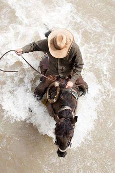 Filson Ads 2016 Fall, cowboy on horseback in river Cowboy Horse, Cowboy Up, Horse Riding, Cowboy Pics, Cowboy Ranch, Real Cowboys, Cowboys And Indians, Pretty Horses, Beautiful Horses