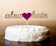 The Whimsical Wedding Cake Topper in Magenta  by betteroffwed, $45.00