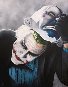 Art Collection by Nina Domaschko Joker Film, Heath Ledger, Dark Knight, Film Movie, Form, Paintings, Comics, History, Canvas
