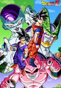 Dragon ball Z- Goku and Gohan vs Freeza, Cell and Kid Buu lineart, colour and background by me después de varias semanas trabajando en este poster lo he conseguido
