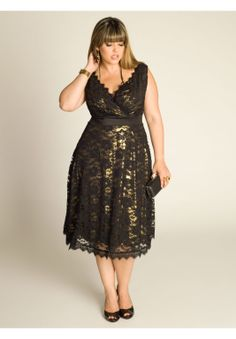 Plus Size Leigh Lace Dress in Gold | Plus Size Cocktail Dresses | One Stop Plus
