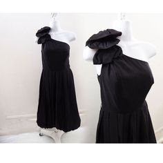 b454a51fba5 Vintage 80s One Shoulder Dress Size S Little Black Taffeta Cocktail LBD Poof  Bow  fashion