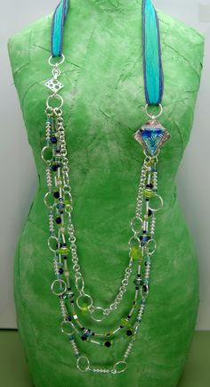 From Patina Queen Studio's Blog.  A photo of the first necklace Heather Thornton made from her partner, Monica Phillips findings.